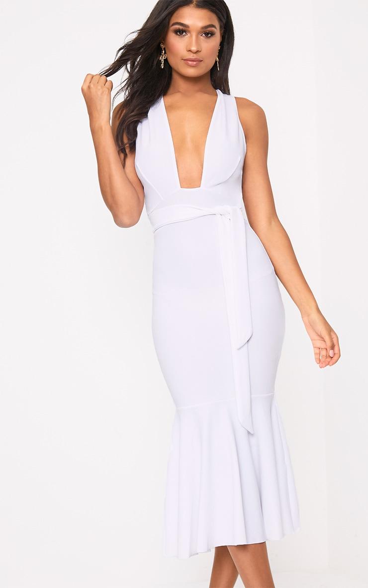 White Plunge Fishtail Midi Dress 1