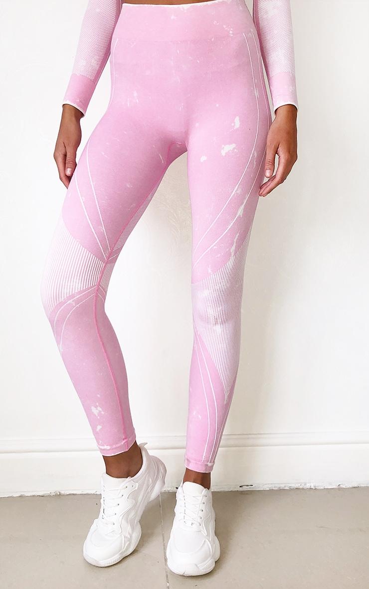 Pink Acid Wash Seamless Rib Detail Gym Legging 2