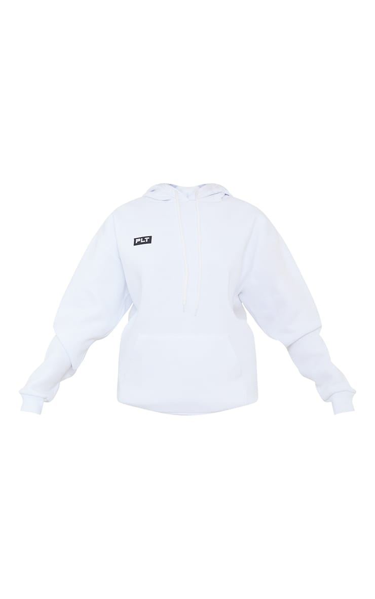PRETTYLITTLETHING White Badge Detail Oversized Hoodie 5