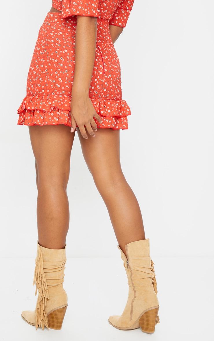 Red Floral Printed High Waist Mini Skirt 3