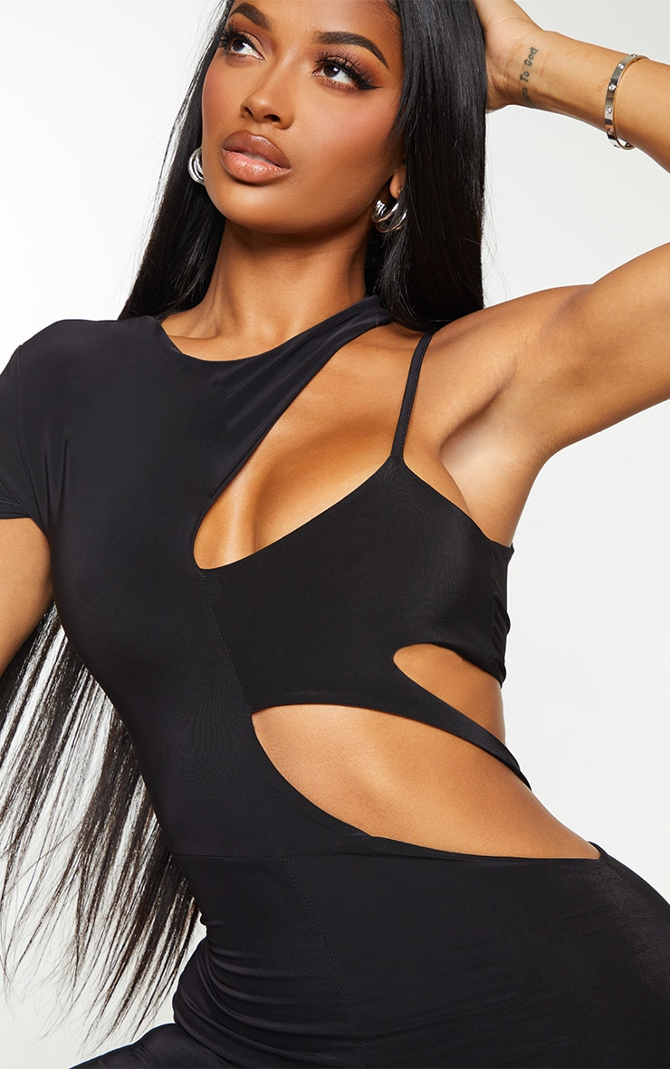 Shape Black Slinky Cut Out Short Sleeve Unitard 4