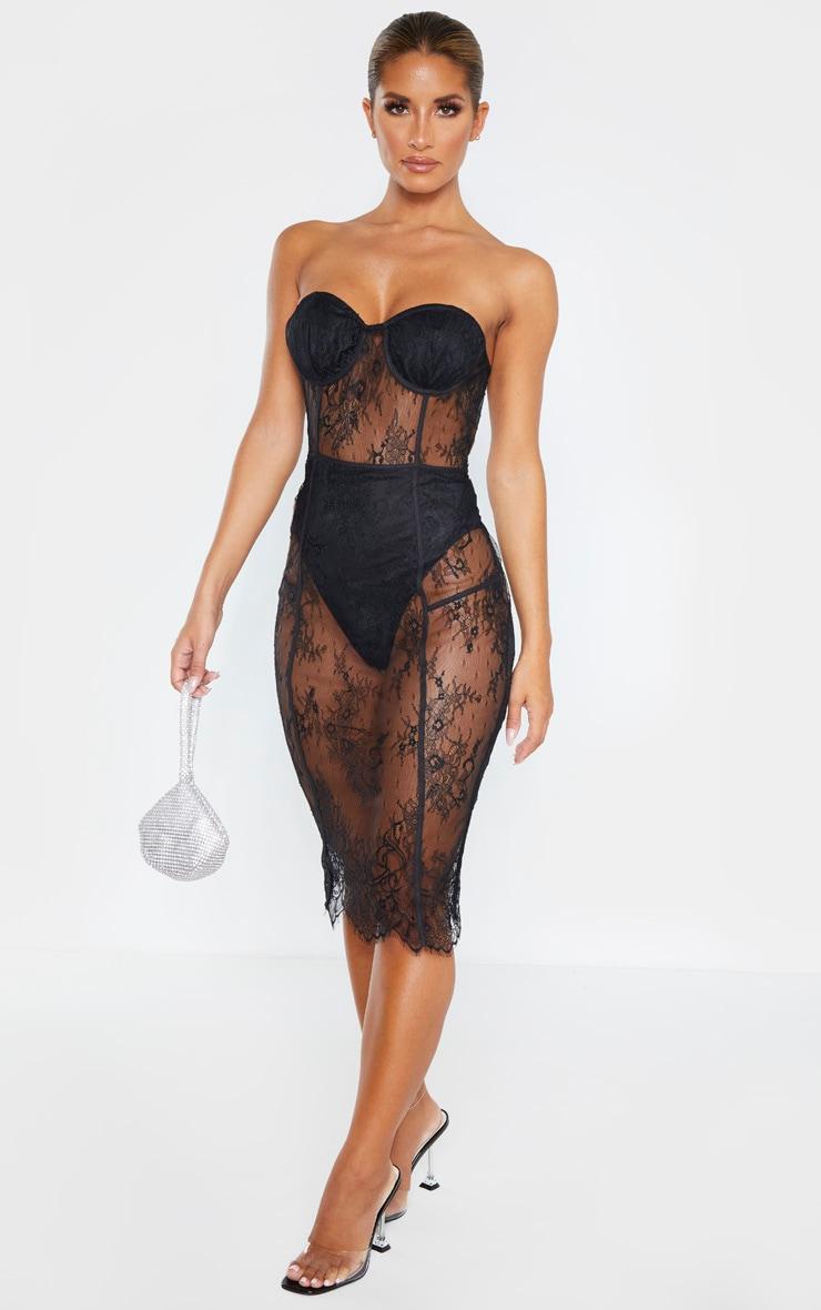 Black Bandeau Cup Detail Lace Midi Dress 4