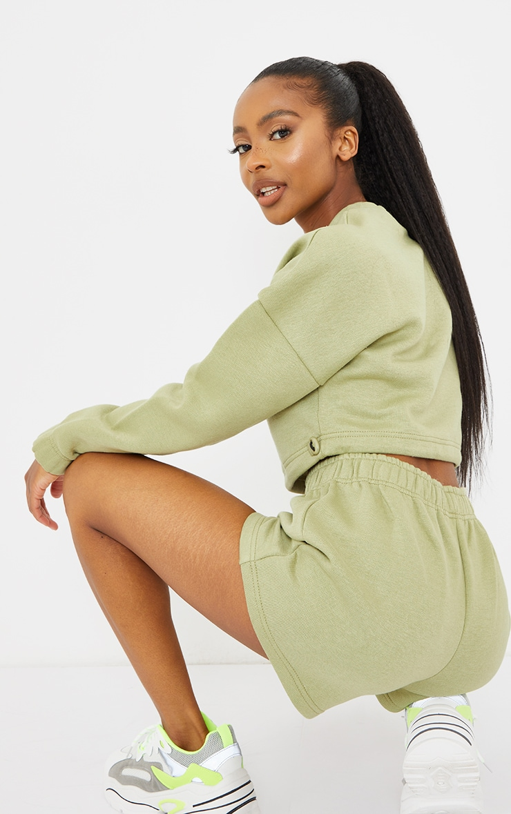PRETTYLITTLETHING Petite Sage Green Cropped Sweater 2