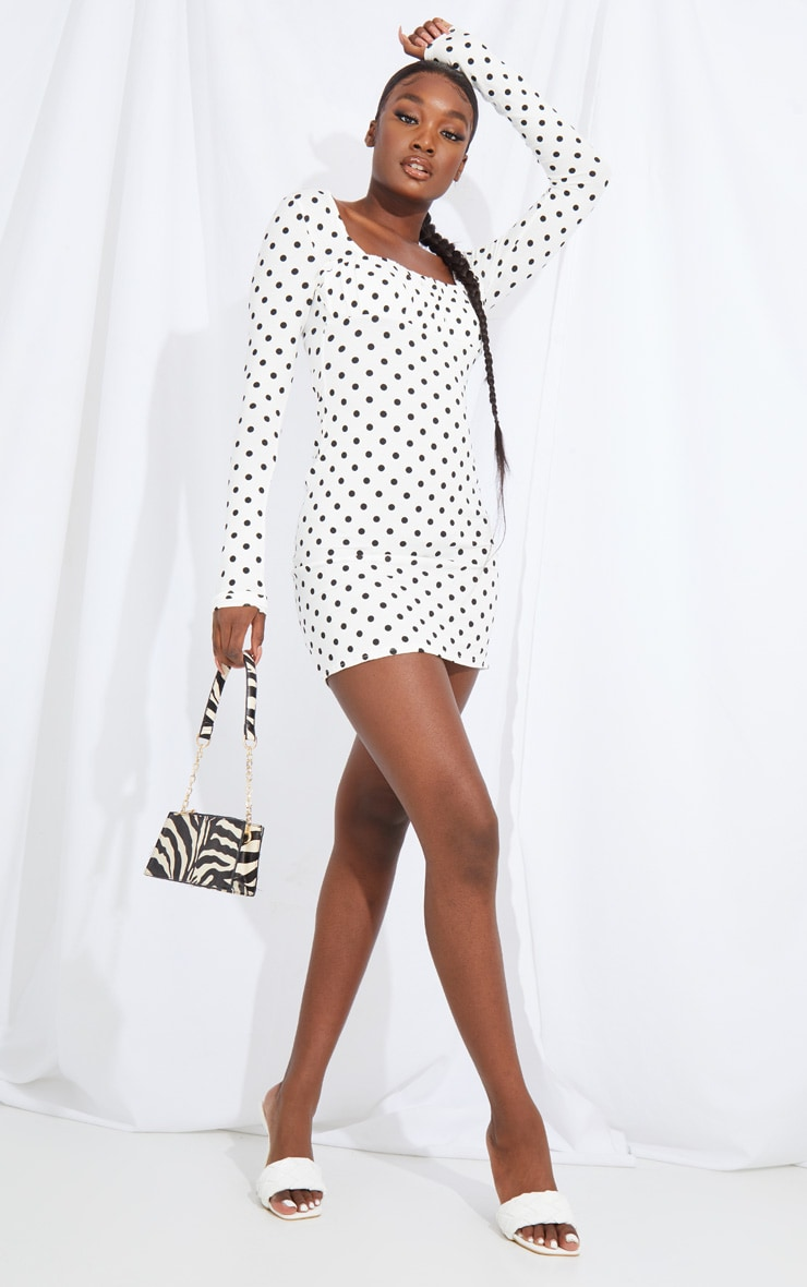 Tall White Polka Square Neck Ruched Bust Bodycon Dress 3