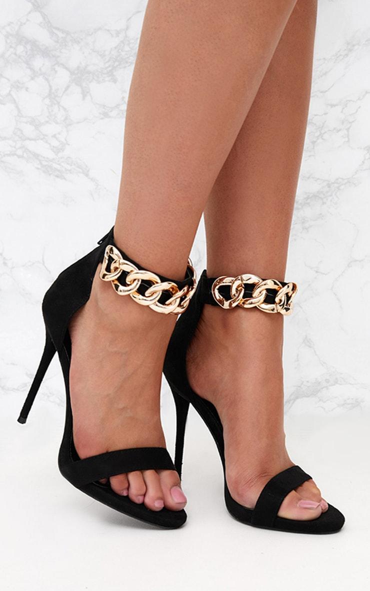Black Faux Suede Chain Strap Heels  1