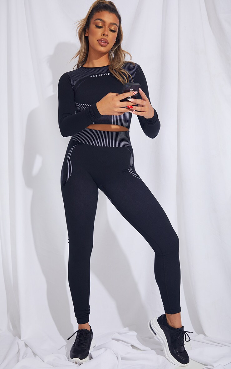 PRETTYLITTLETHING Black Contour Seamless Long Sleeve Top 3