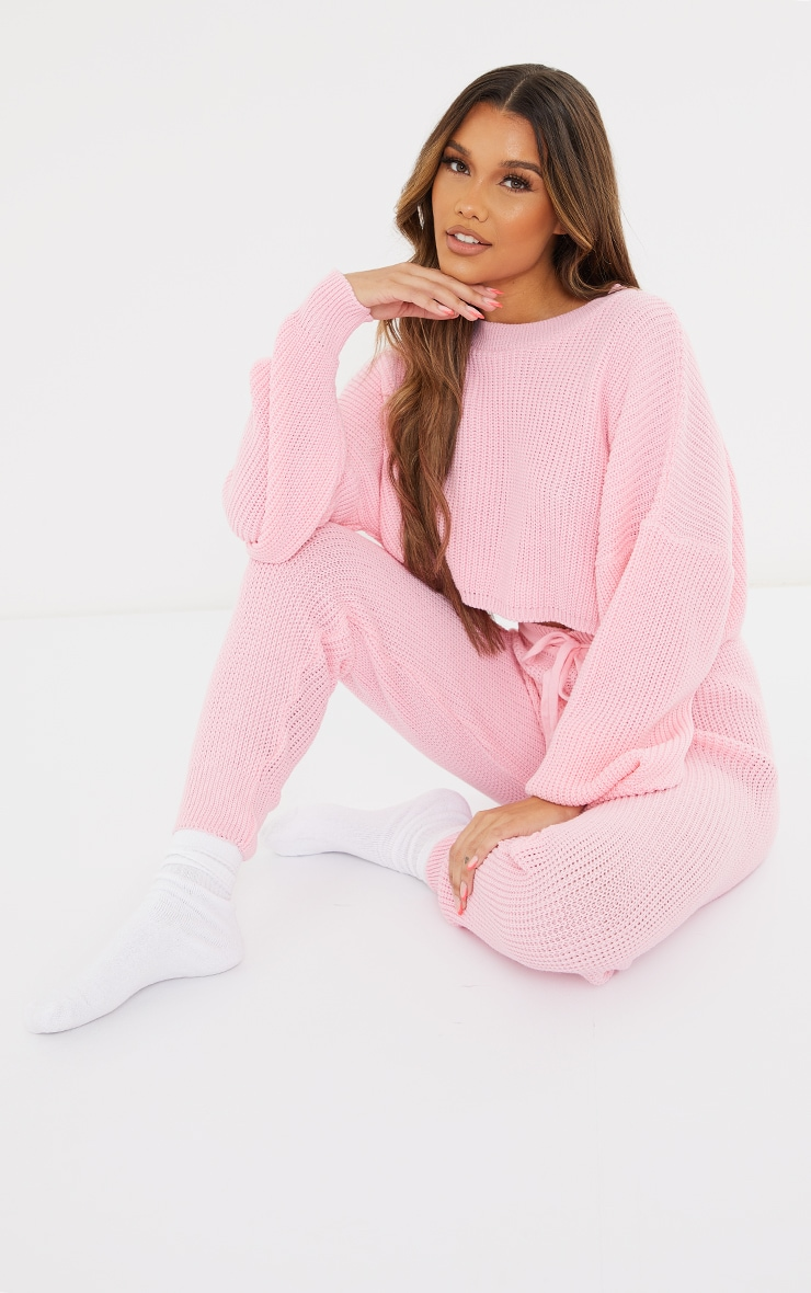 Baby Pink Waffle Knitted Crop Sweater And Tie Waist Leggings 1