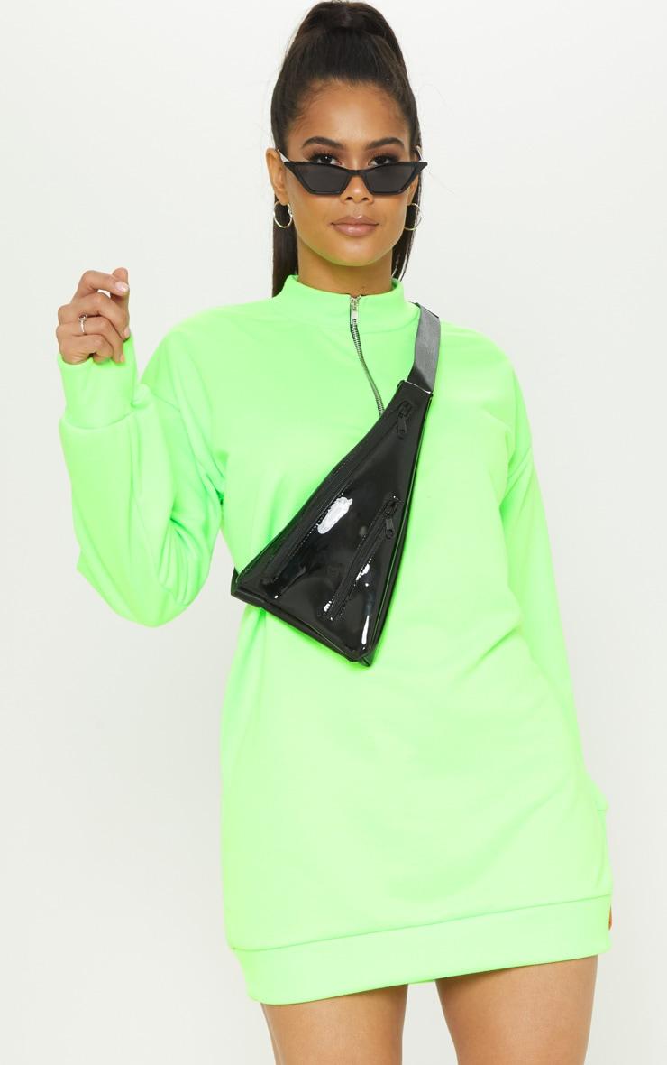 Neon Lime Zip High Neck Jumper Dress 1