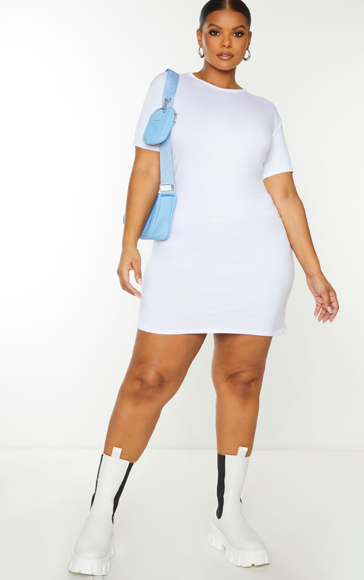 Plus Basic White Short Sleeve T Shirt Dress 4