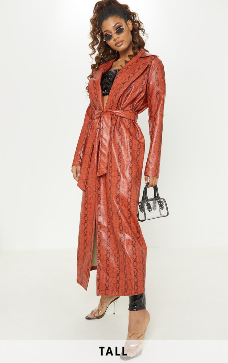 Tall Rust PU Snake Print Belted Trench Coat 1