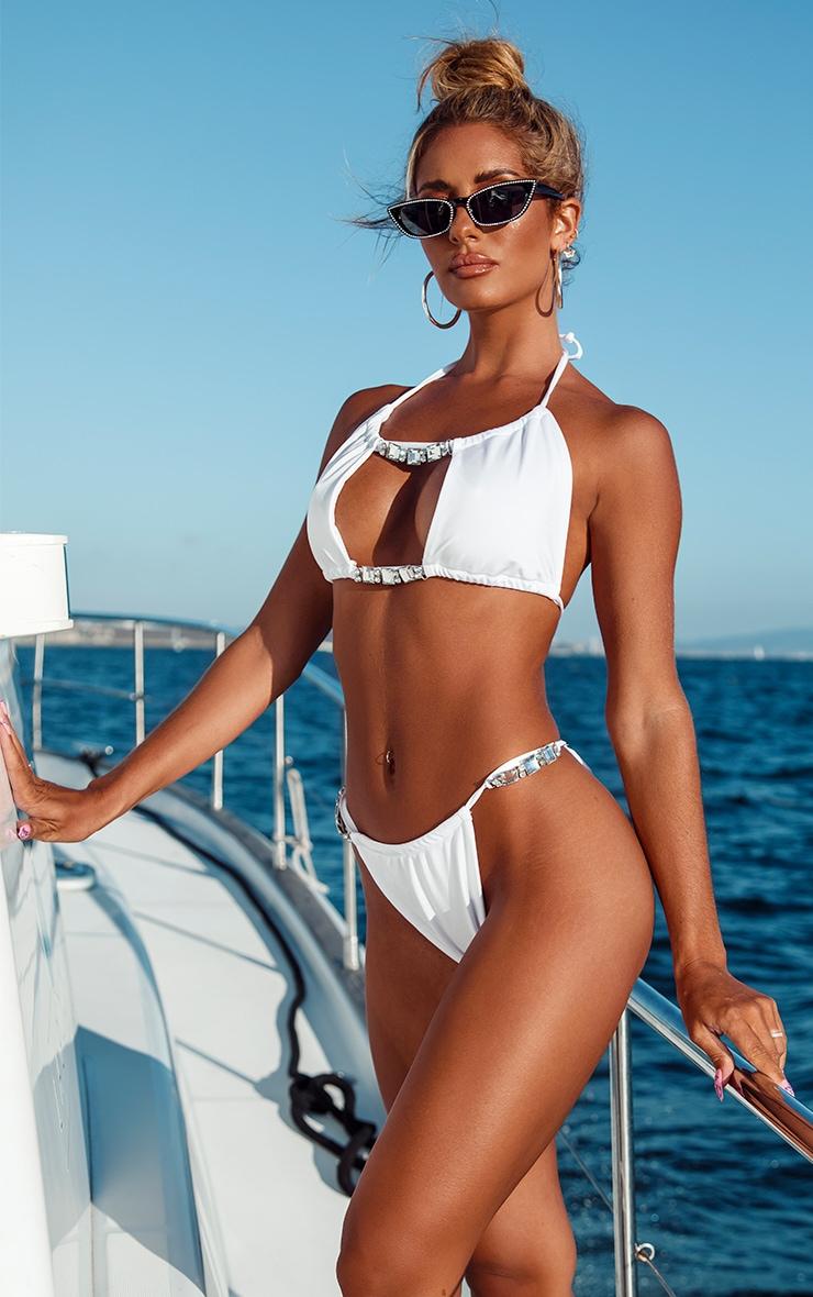 White Diamante Trim Tanga Bikini Bottom 2