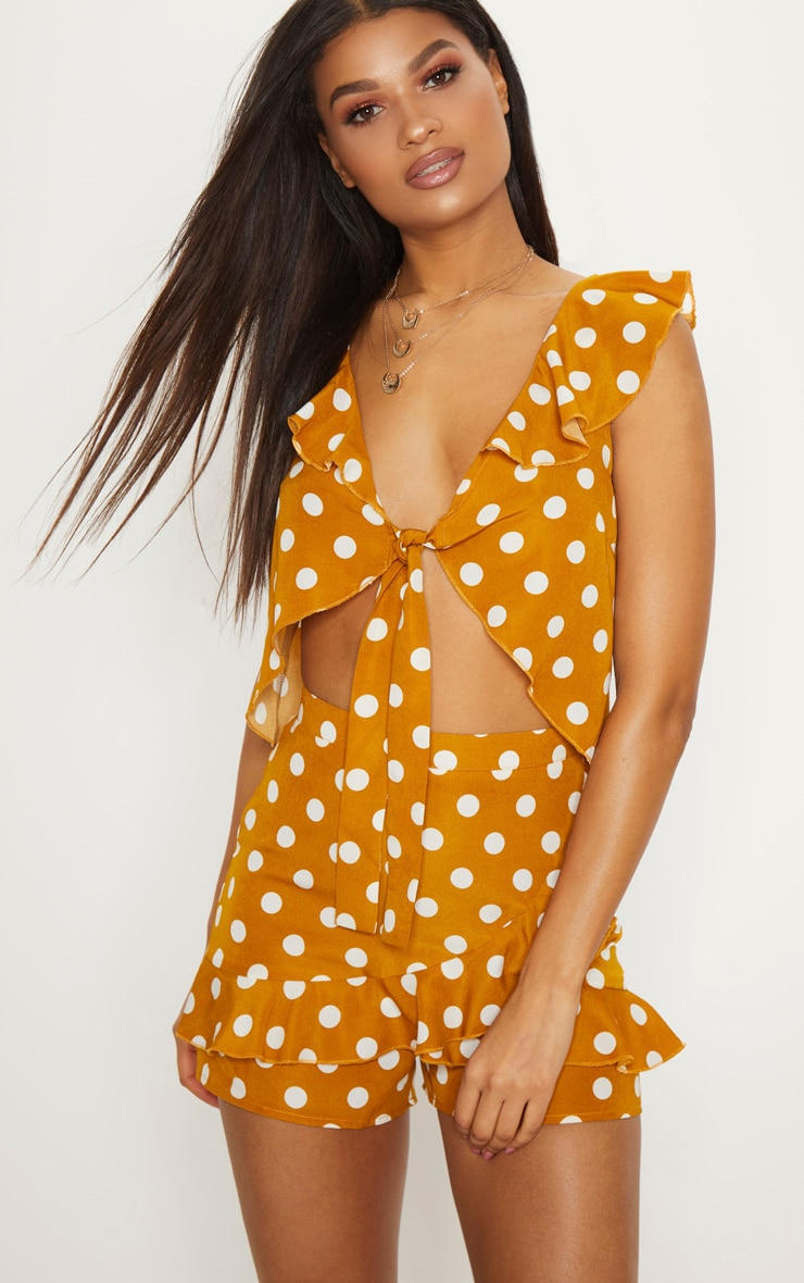 Mustard Polka Dot Tie Front Frill Detail Crop Top 1
