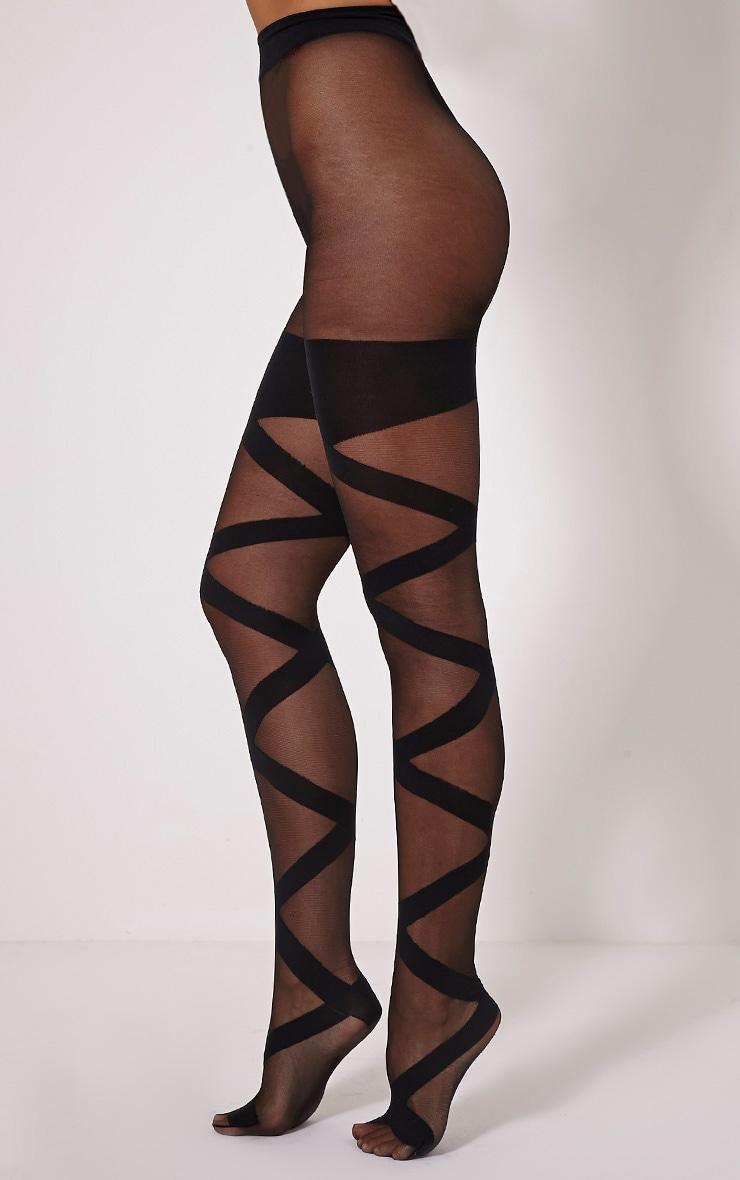 Dari Black Bandage Style Tights 2
