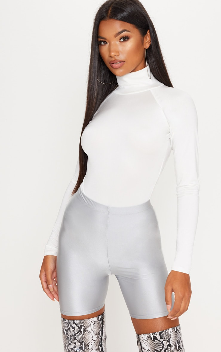 White Seamless Roll Neck Bodysuit