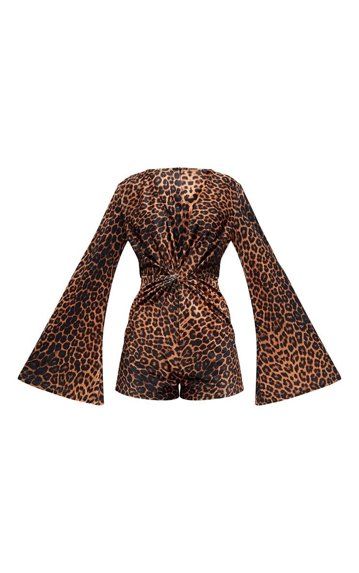 Combishort noué en velours imprimé léopard 3