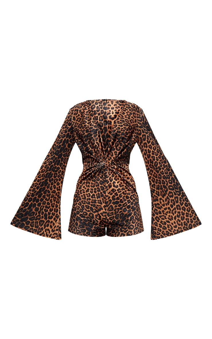 Leopard Print Velvet Knot Playsuit 3