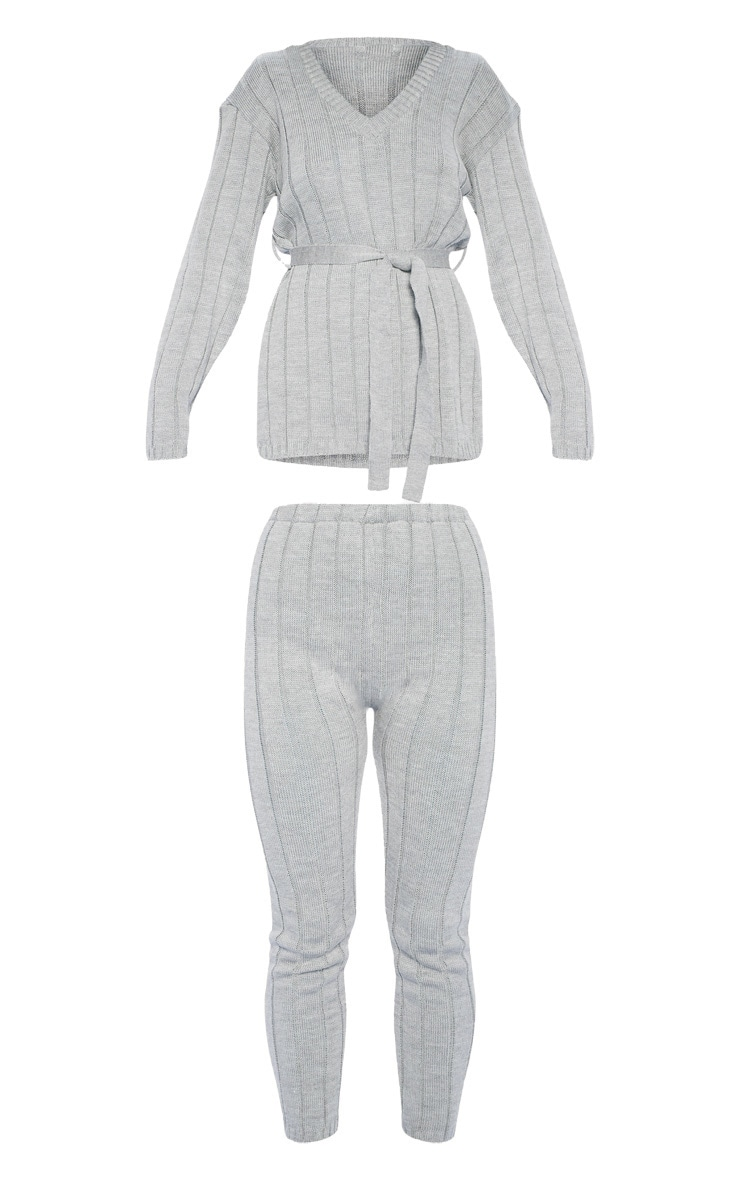 Grey Belted Longline Jumper And Legging Lounge Set 3