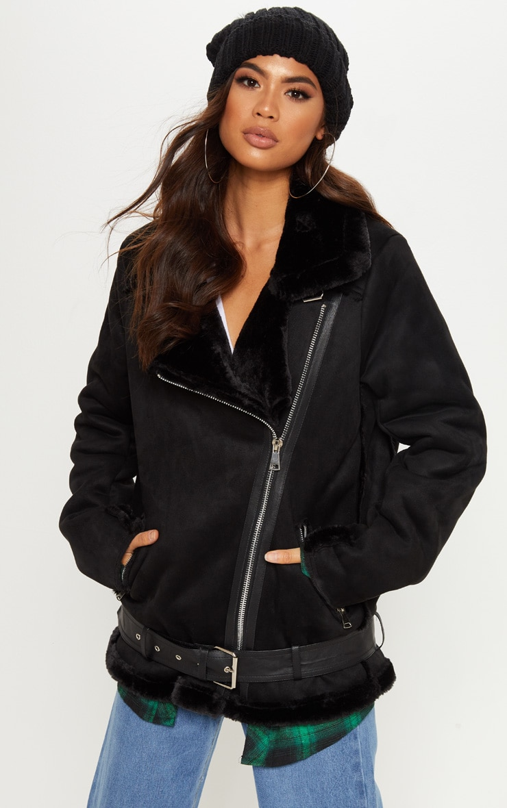 Emilia Black Faux Suede Aviator Jacket 1
