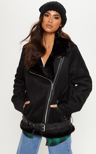 Women S Aviator Jackets Suede Leather Prettylittlething