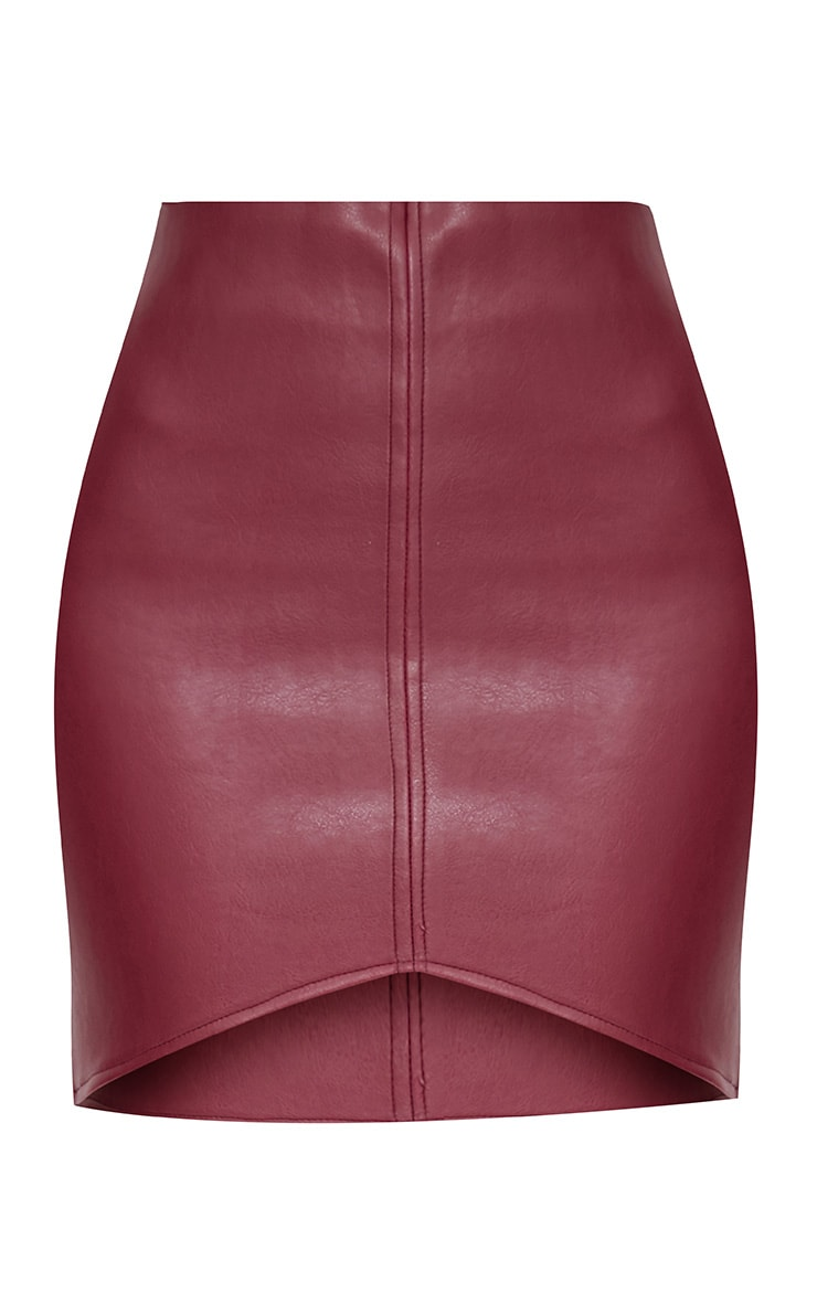 Maroon Faux Leather Asymmetric Panel Mini Skirt 3