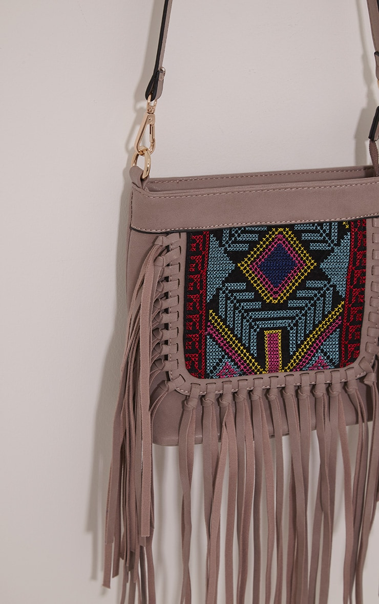 Serena Purple PU Tapestry Fringe Bag 5