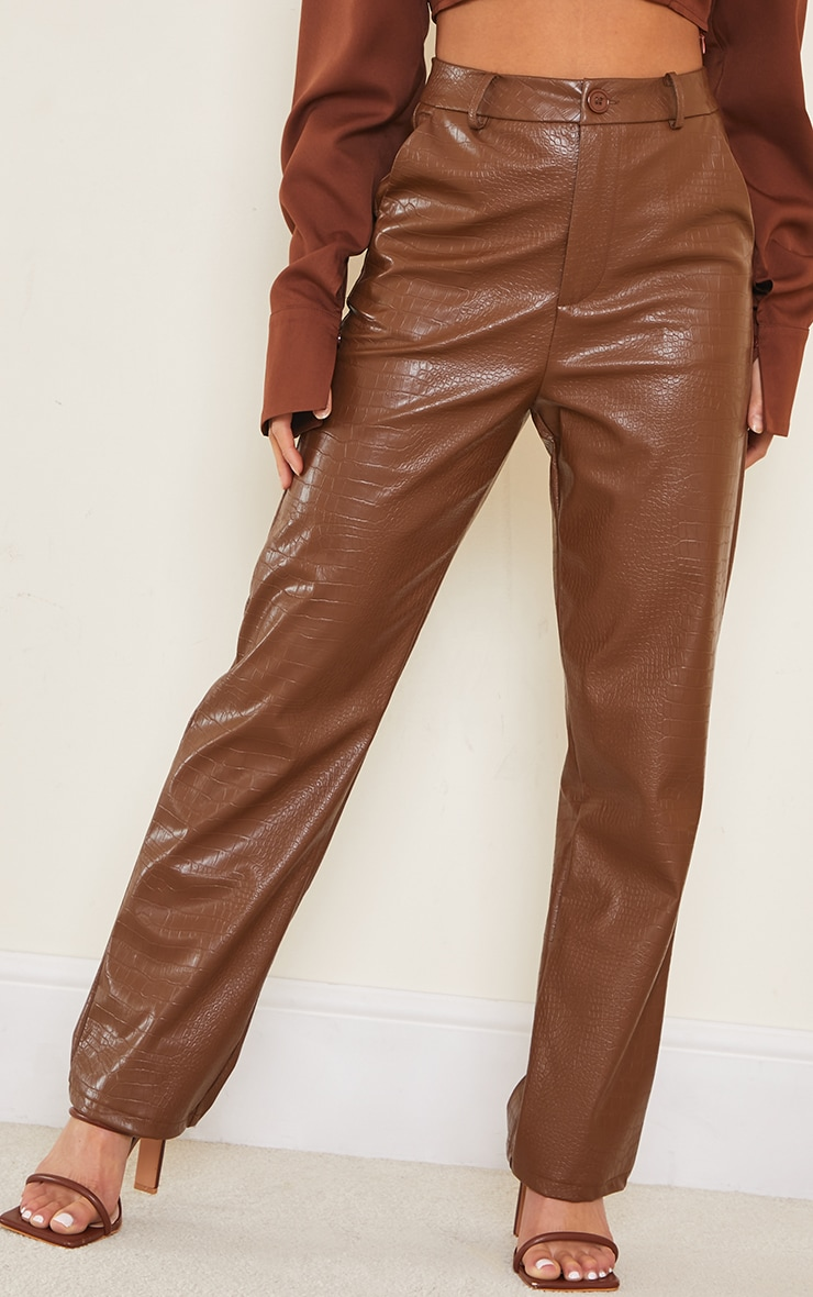 Petite Chocolate Mock Croc PU Pants 2