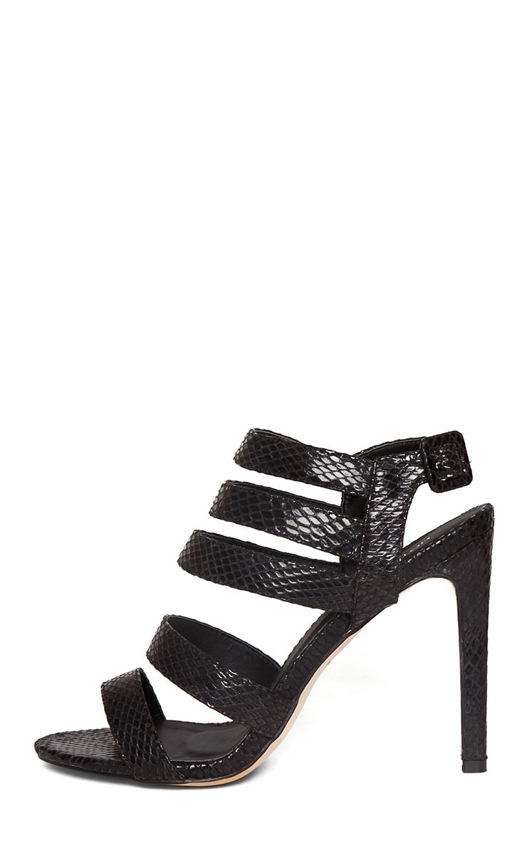 Jemimah Black Strappy Heeled Sandals 6