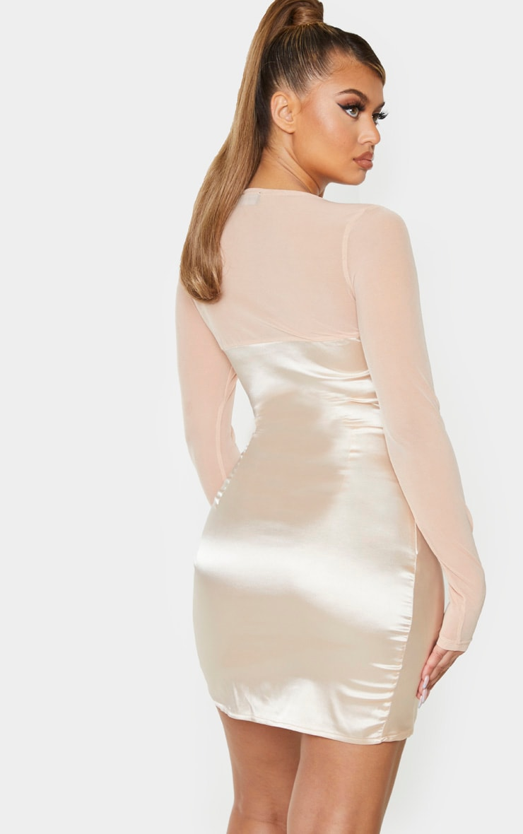 Champagne Satin Hook & Eye Mesh Sleeve Bodycon Dress 2