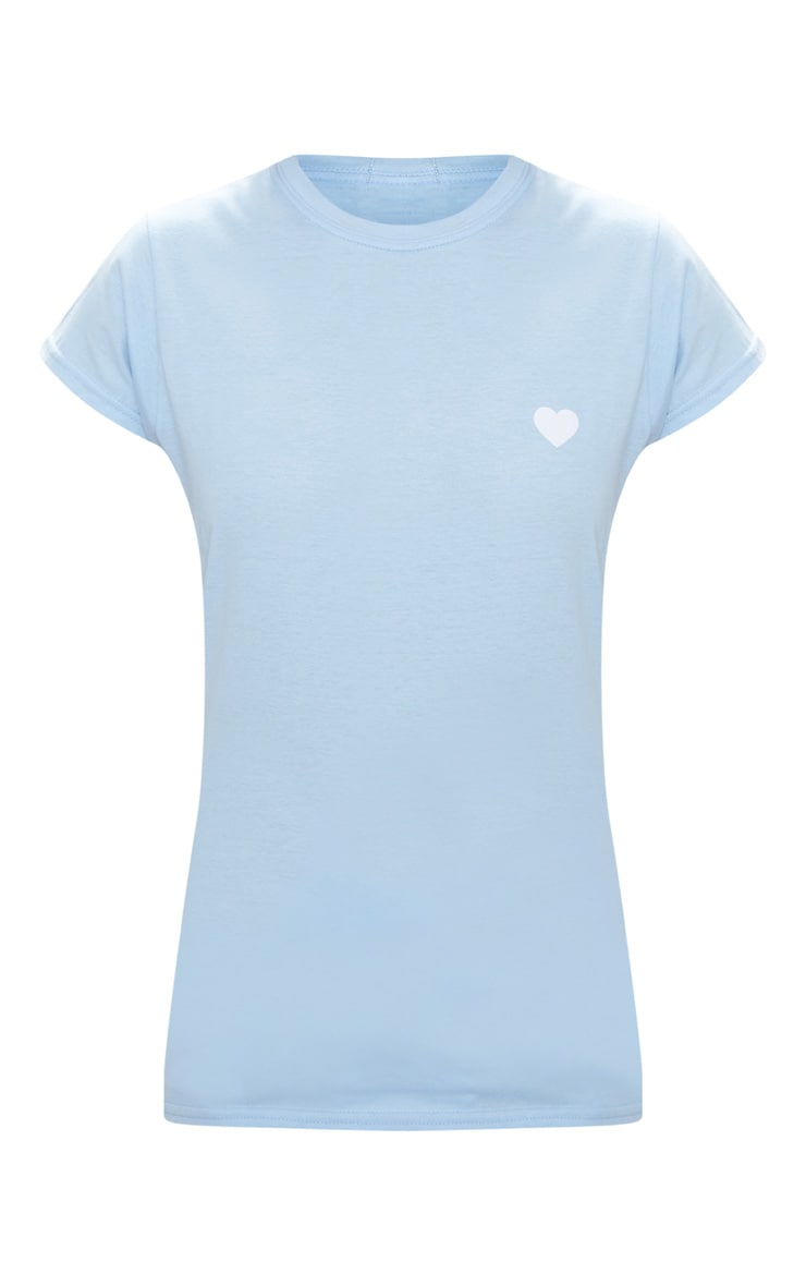 Baby Blue Love Heart Jersey T Shirt 3