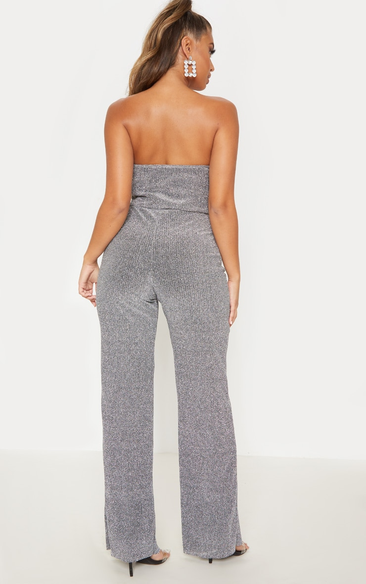 Silver Glitter Pleated Bandeau Jumpsuit 3