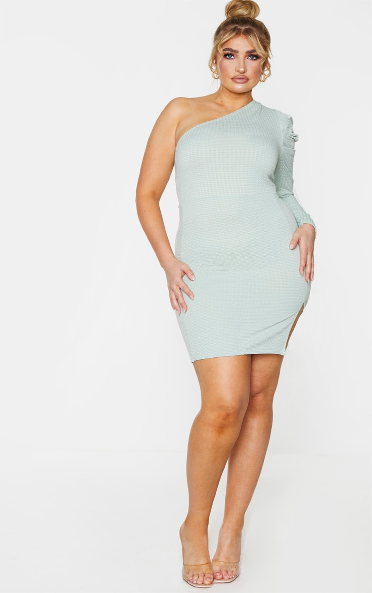 Plus Sage Green Textured Puff Sleeve One Shoulder Bodycon Dress 3