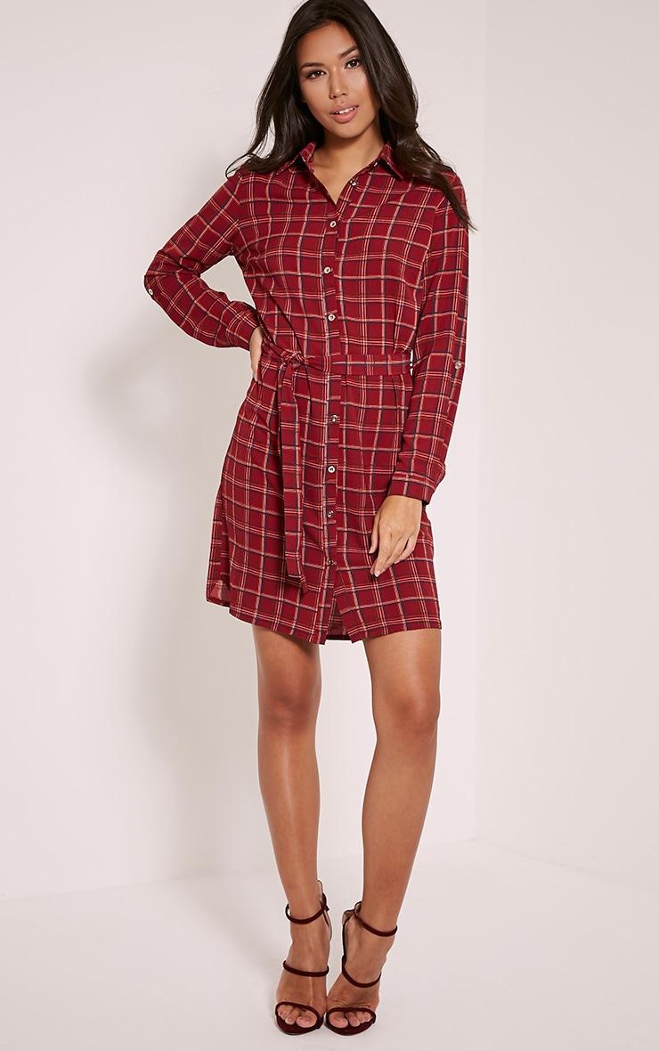 Sandia Burgundy Checked Tie Waist Shirt Dress 1