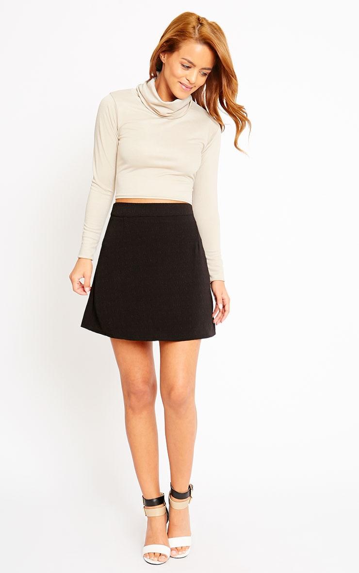 Rori Black Crepe A Line Mini Skirt 5