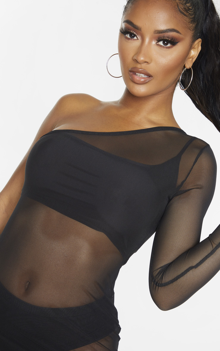 Shape Black Mesh Sheer One Shoulder Bodycon Dress 4
