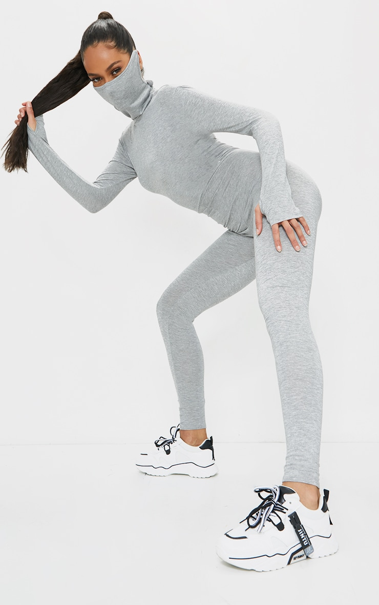 Grey Marl Long Sleeve Mask Jumpsuit 1