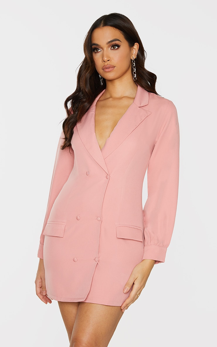 Rose Woven Double Breasted Blazer Dress 1