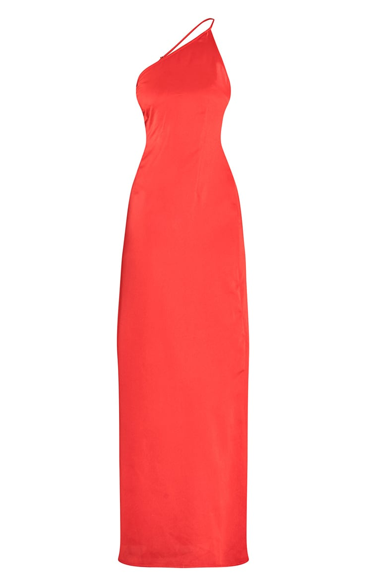 Red Strappy One Shoulder Satin Maxi Dress 5
