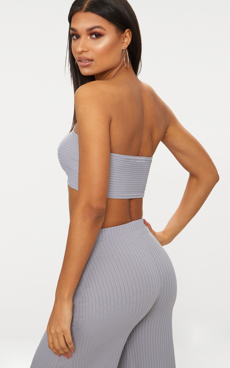 Grey Rib Bandeau Crop Top 2