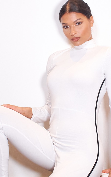 White Sports Stripe High Neck Jumpsuit 4