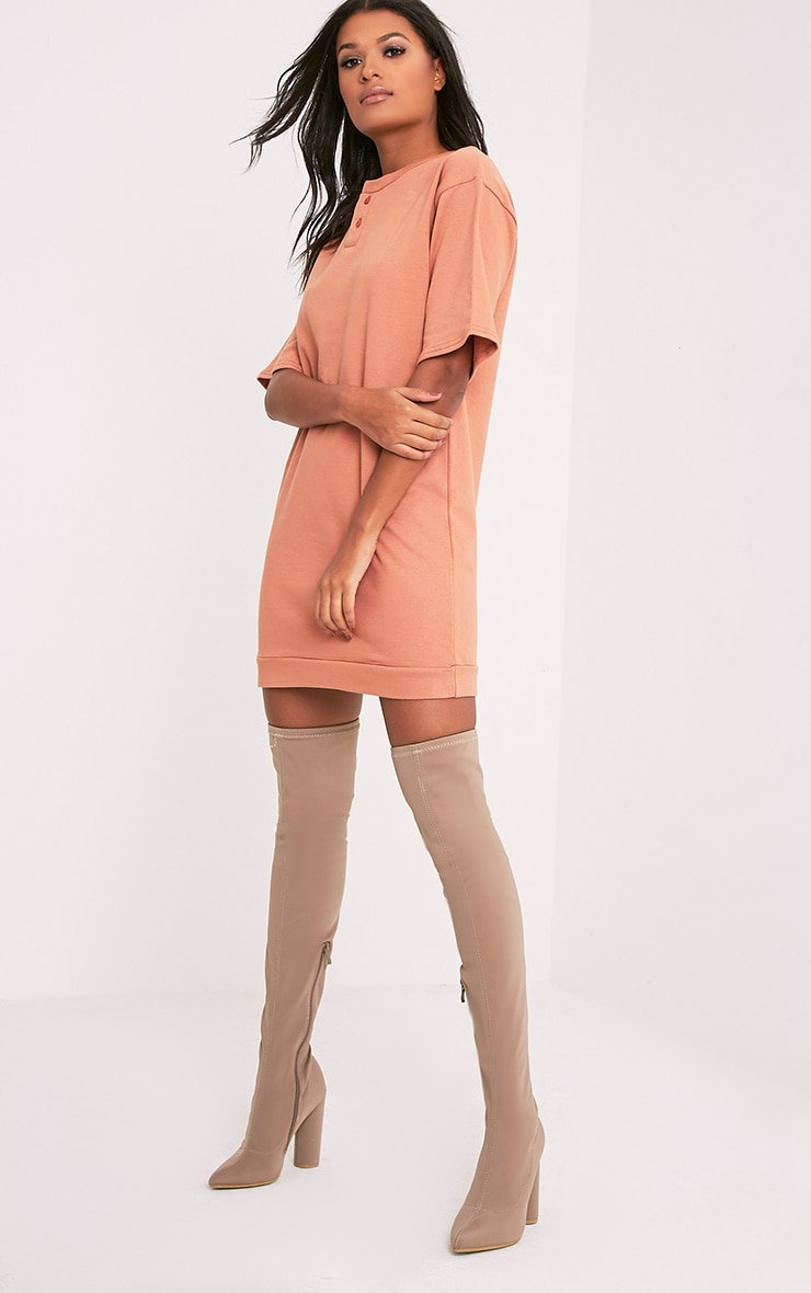 Anabelle Deep Peach Button Up Sweater Dress 5