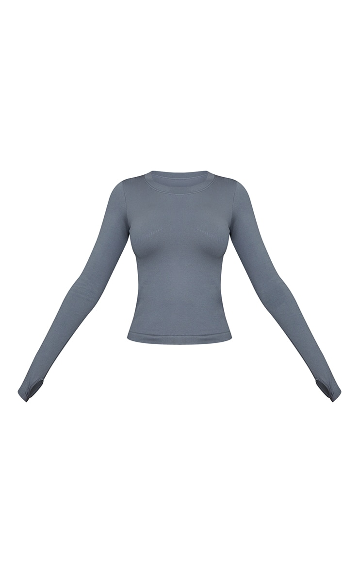 Grey Basic Detail Seamless Gym Top 5