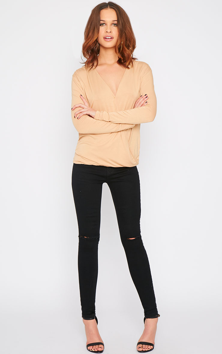 Alaia Camel Long Sleeve Wrap Top  10