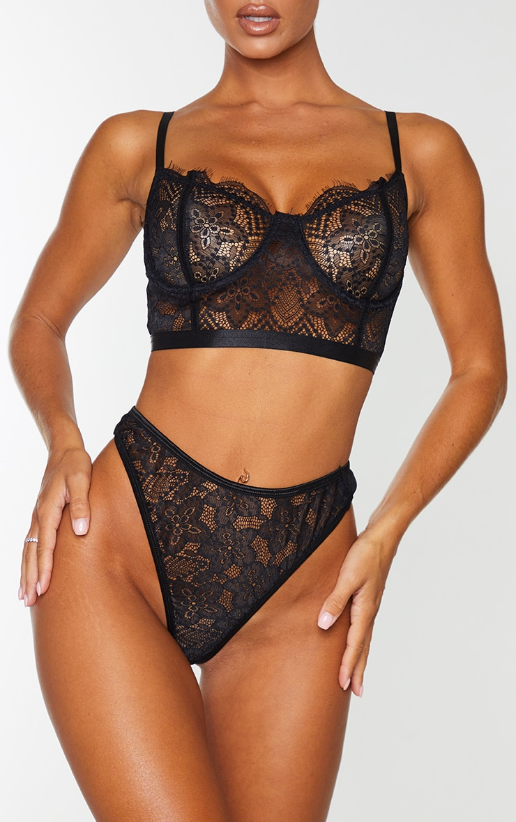 Black Delicate Lace High Waisted Thong 1