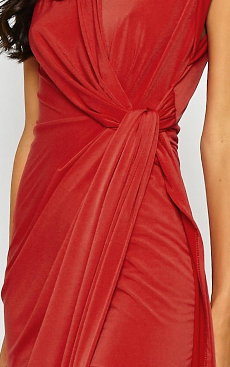 Reeta Red Twist Front Maxi Dress 4