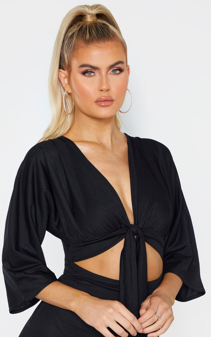 Tall Black Crepe Batwing Cut Out Jumpsuit 4