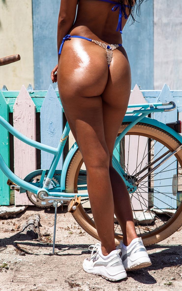 Cobalt Sequin Jewelled Thong Bikini Bottom 2