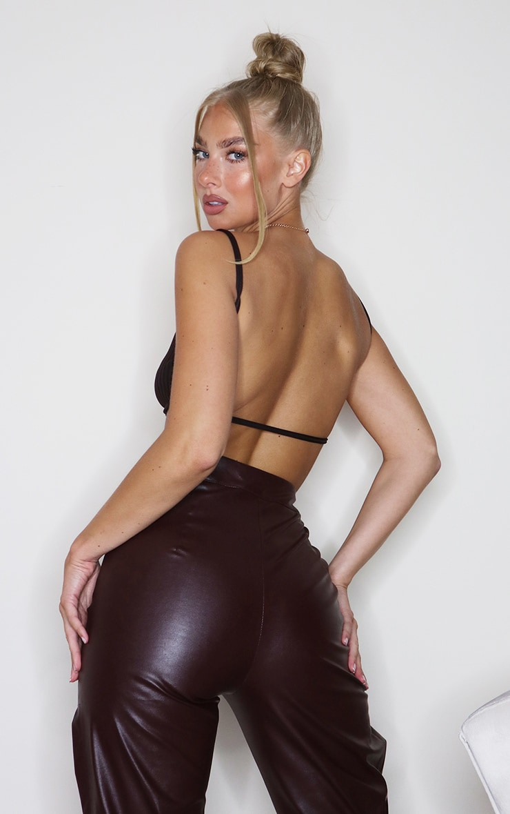 Dark Brown Rib Strappy Back Bralet 2
