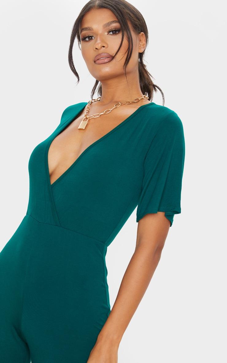Emerald Green Wrap Front Short Sleeve Jumpsuit 5