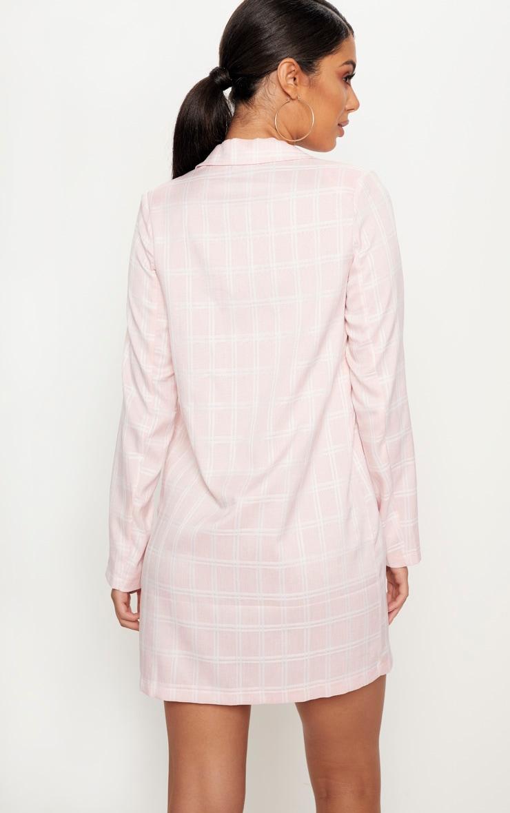 Pink Check Print Tortoise Button Blazer Dress 2