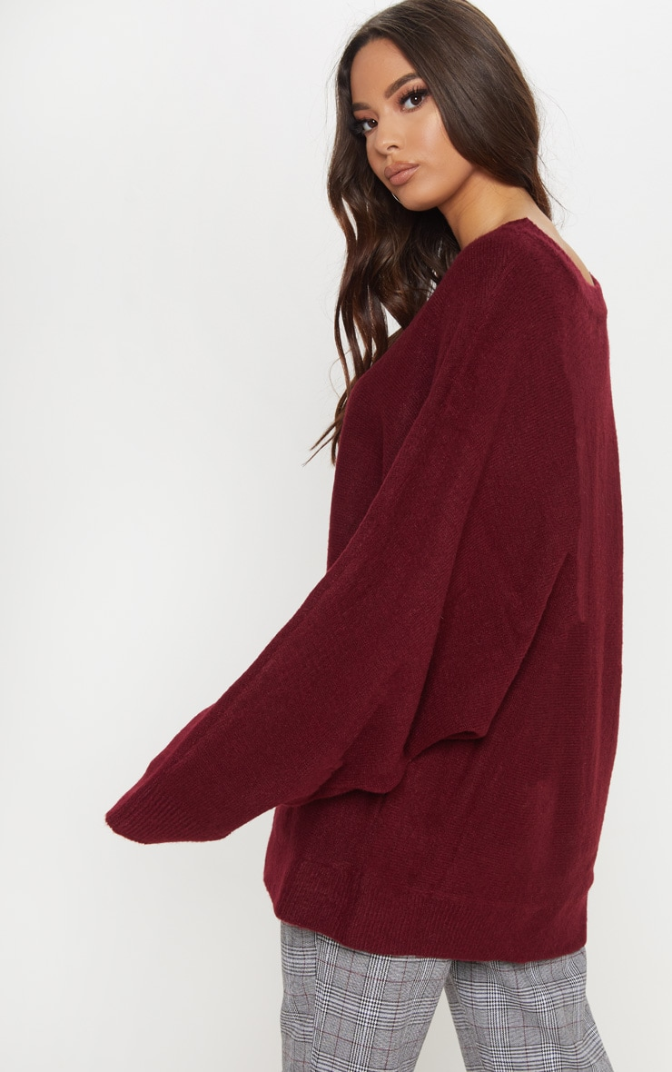 Maroon Knitted Sweater  2
